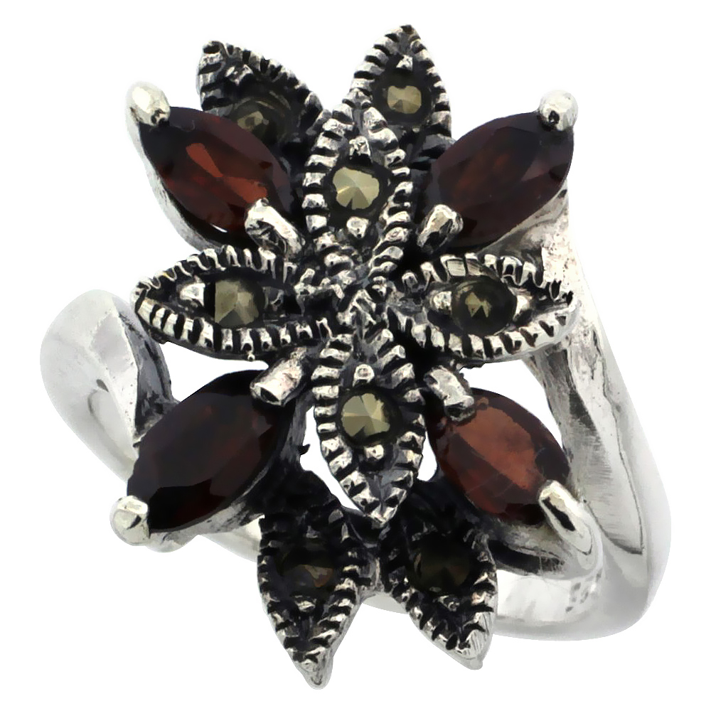 "Sterling Silver Marcasite Flower Ring, w/ Natural Garnet, 3/4"" (20 mm) wide"