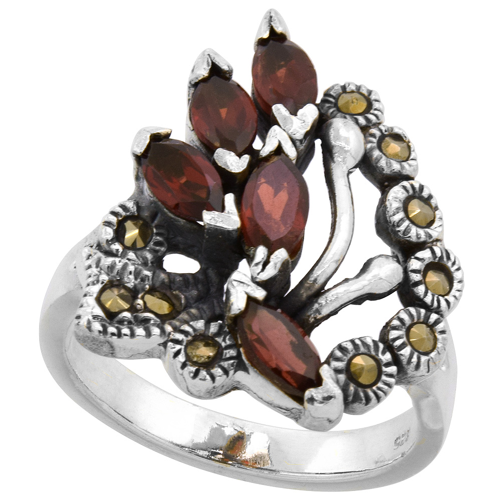 "Sterling Silver Marcasite Leaf Design Ring, w/ Natural Garnet, 7/8"" (22 mm) wide"
