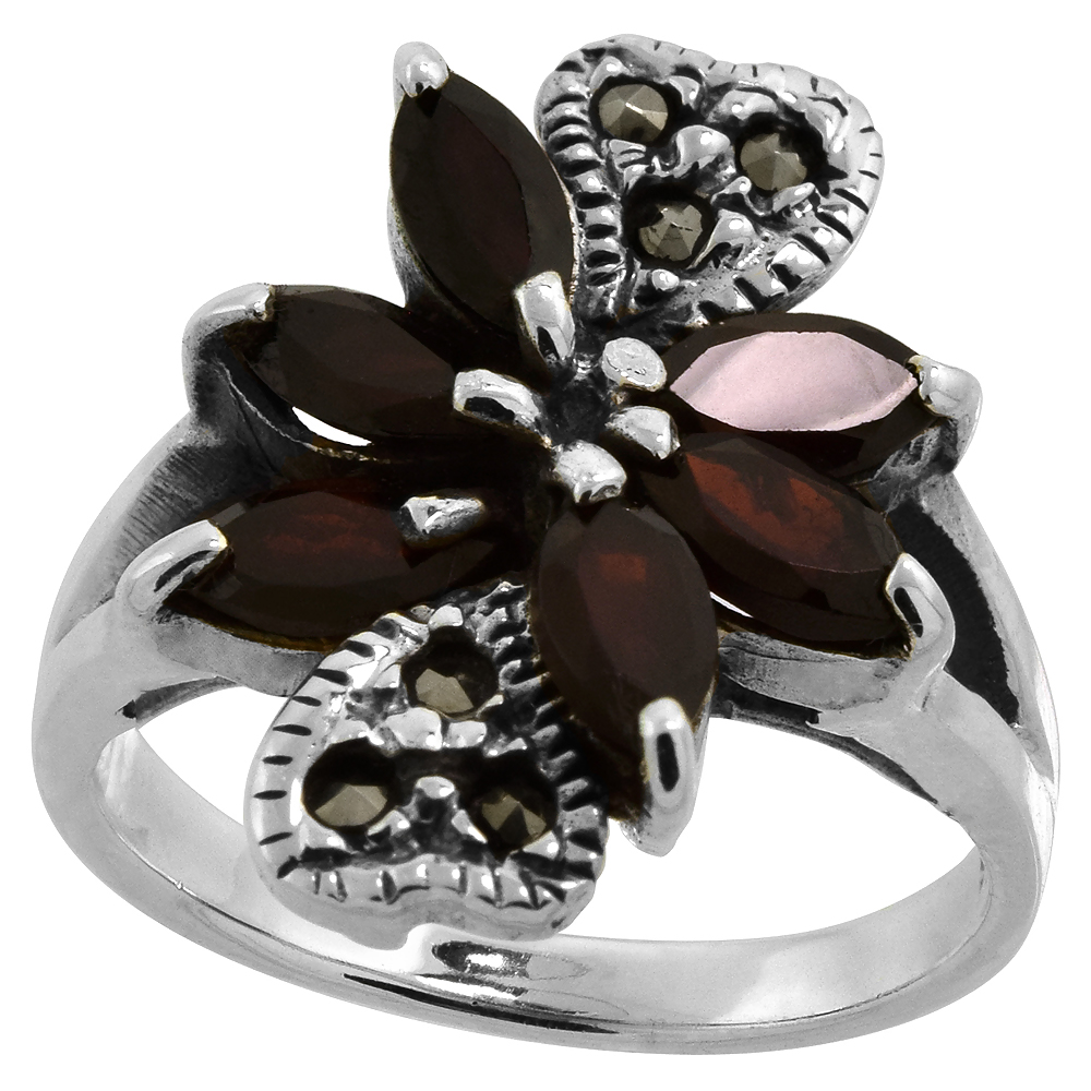 "Sterling Silver Marcasite Double Heart Ring, w/ Natural Garnet, 5/8"" (16 mm) wide"