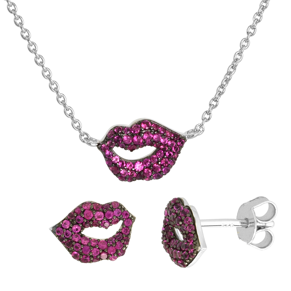 Dainty Sterling Silver Purple Lips Earrings Necklace Set Violet CZ Micropave Rhodium Plated 3/8 inch (11mm) wide