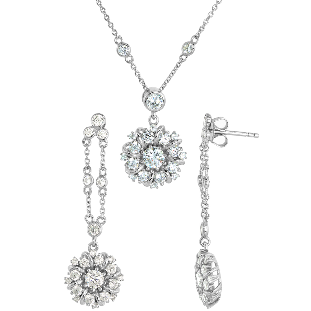 Dainty Sterling Silver CZ Round Cluster Earrings Necklace Set for Women Rhodium Plated 5/8 inch (15mm) wide