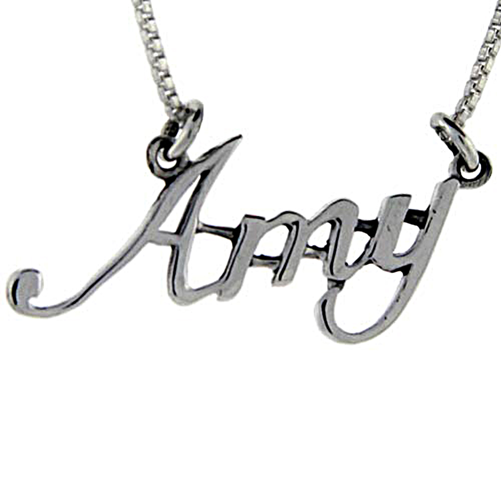 Sterling Silver AMY Name Necklace 3/8 inch, 17 inches long