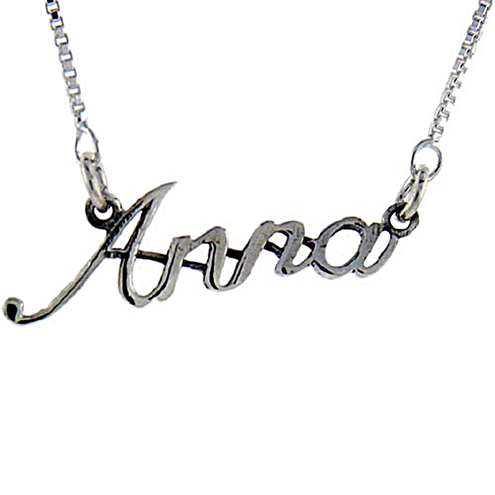 Sterling Silver Name Necklace Anna 3/8 Inch, 17 Inches Long