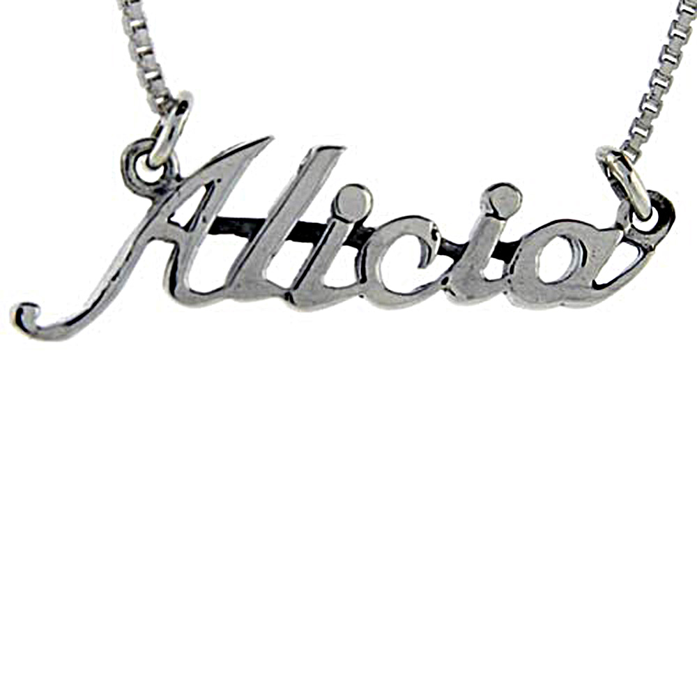 Sterling Silver Name Necklace Alicia 3/8 Inch, 17 Inches Long
