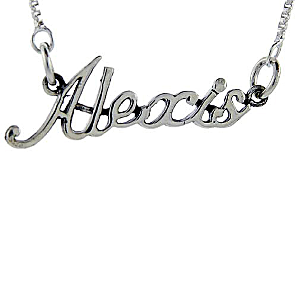 Sterling Silver Name Necklace Alexis 3/8 Inch, 17 Inches Long