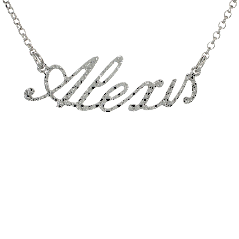 Sterling Silver Name Necklace Alexis Diamond Cut Platinum Coated Italy, about 3/4 Inch wide 16 Inches + 2 inch extension