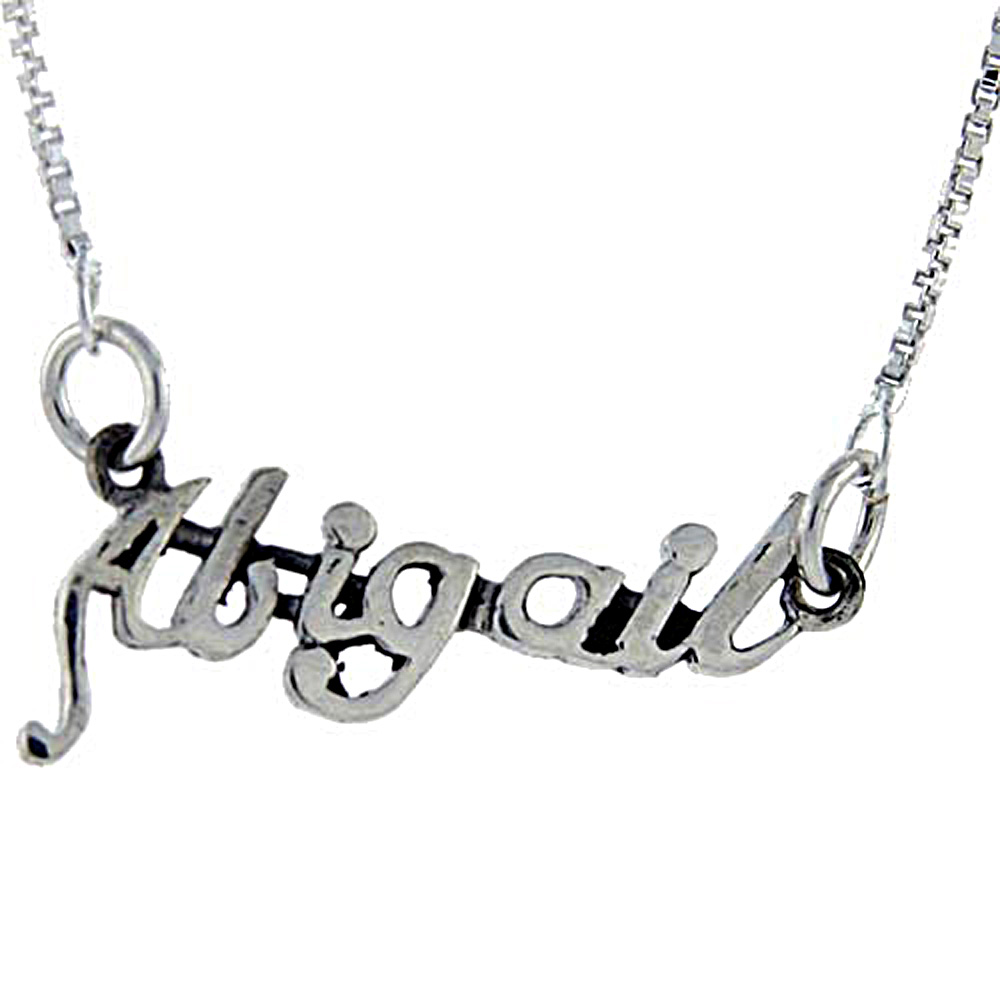 Sterling Silver Name Necklace Abigail 3/8 Inch, 17 Inches Long