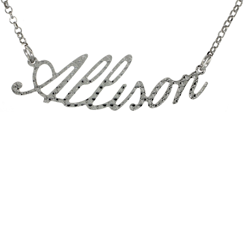 Sterling Silver ALLISON Name Necklace Diamond Cut Finish Italy, 16 inch + 2 inch extention