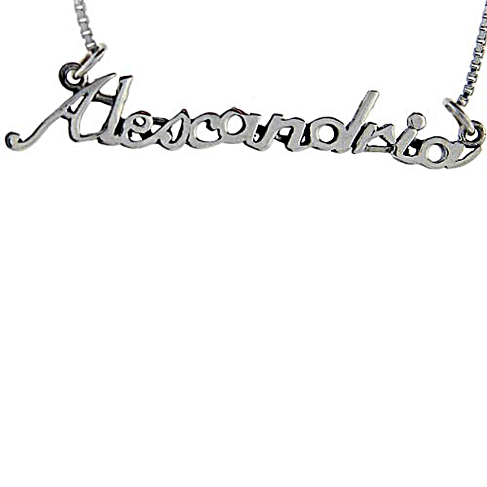 Sterling Silver Name Necklace Alexandria 3/8 Inch, 17 Inches Long