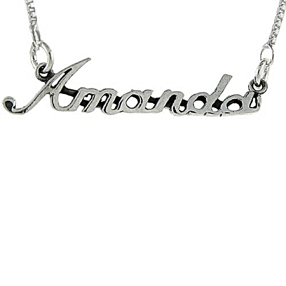 Sterling Silver Name Necklace Amanda 3/8 Inch, 17 Inches Long