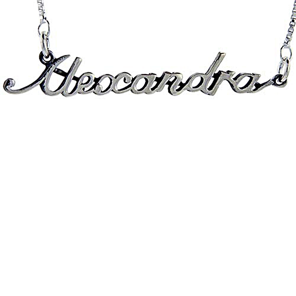 Sterling Silver Name Necklace Alexandra 3/8 Inch, 17 Inches Long