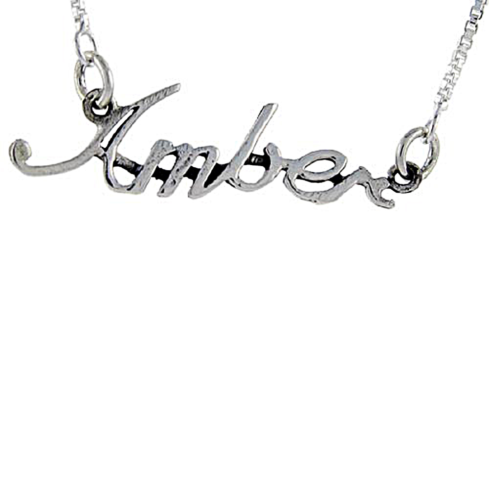 Sterling Silver Name Necklace Amber 3/8 Inch, 17 Inches Long