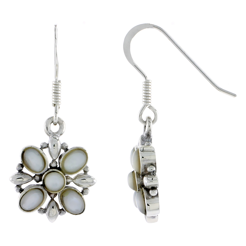 "Sterling Silver Flower Earrings, w/ 3mm Round & Four 4 x 3 mm Oval-shaped Mother of Pearls, 9/16"" (15 mm) tall"
