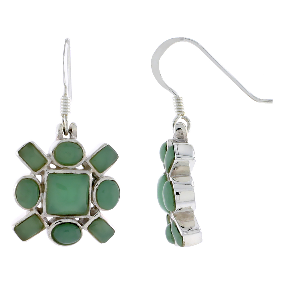 "Sterling Silver Hook Earrings, w/ 6mm Square, Four 4 x 3 mm Oval & Four 4 x 2 mm Rectangular Green Resin, 5/8"" (16 mm) tall"