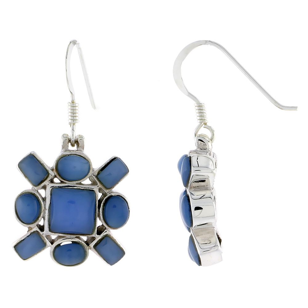 "Sterling Silver Hook Earrings, w/ 6mm Square, Four 4 x 3 mm Oval & Four 4 x 2 mm Rectangular Blue Resin, 5/8"" (16 mm) tall"
