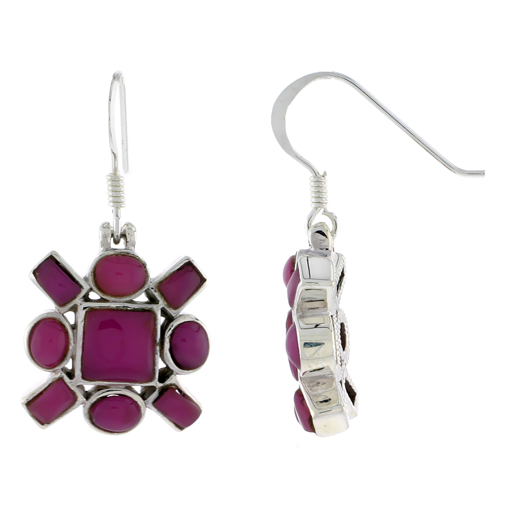 "Sterling Silver Hook Earrings, w/ 6mm Square, Four 4 x 3 mm Oval & Four 4 x 2 mm Rectangular Purple Resin, 5/8"" (16 mm) tall"