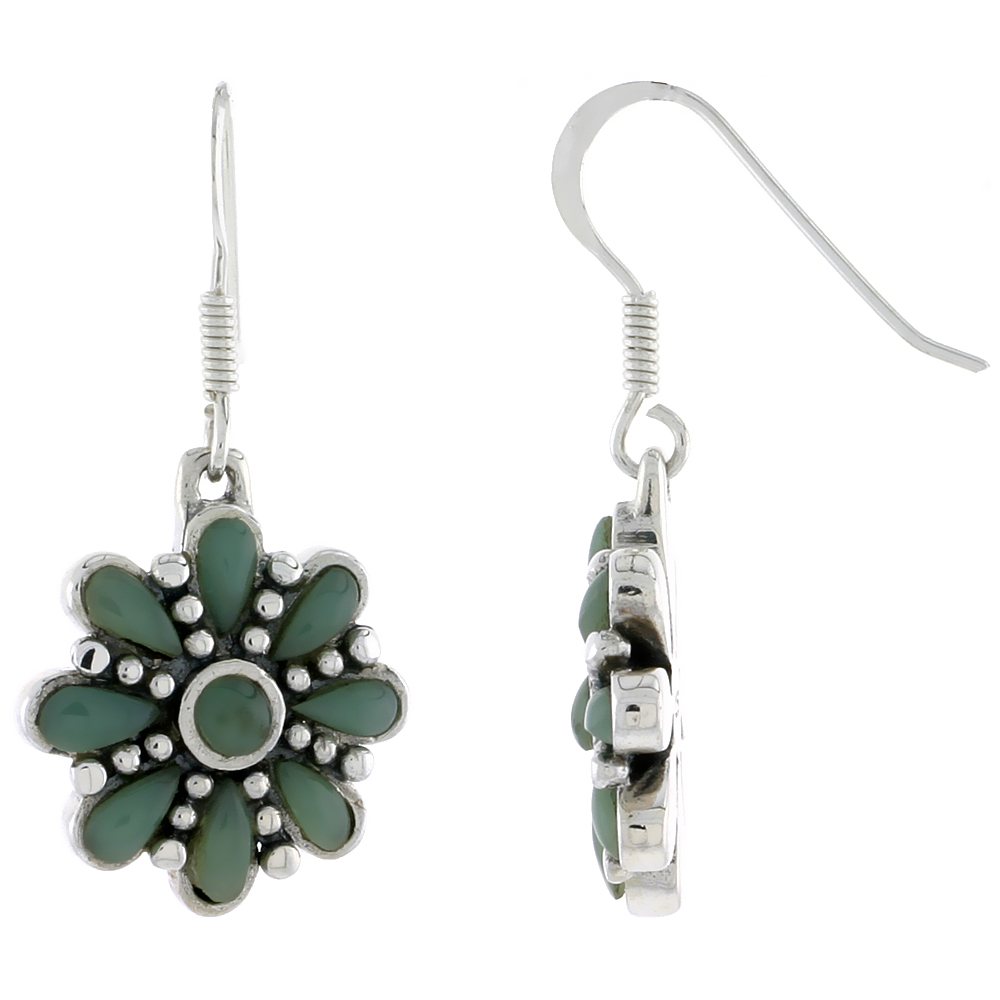 Sterling Silver Round & Teardrop Green Resin Dangling Earrings, 3/4 inch long
