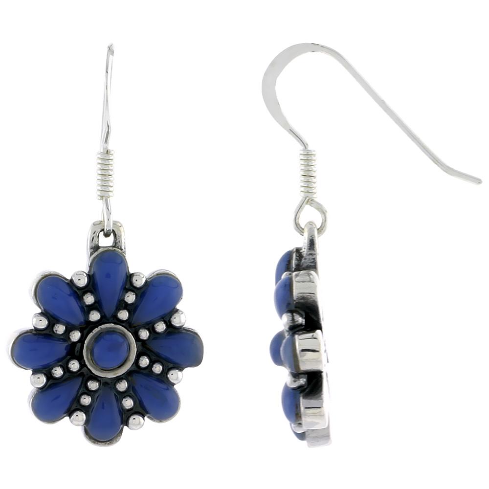 Sterling Silver Round & Teardrop Blue Resin Dangiling Earrings, 3/4 inch long