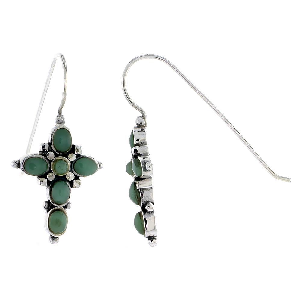 "Sterling Silver Oxidized Cross Earrings, w/ 2mm Round & Five 4 x 3 mm Oval-shaped Green Resin, 7/8"" (23 mm) tall"