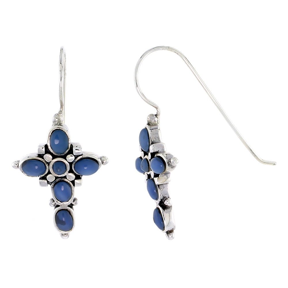 "Sterling Silver Oxidized Cross Earrings, w/ 2mm Round & Five 4 x 3 mm Oval-shaped Blue Resin, 7/8"" (23 mm) tall"