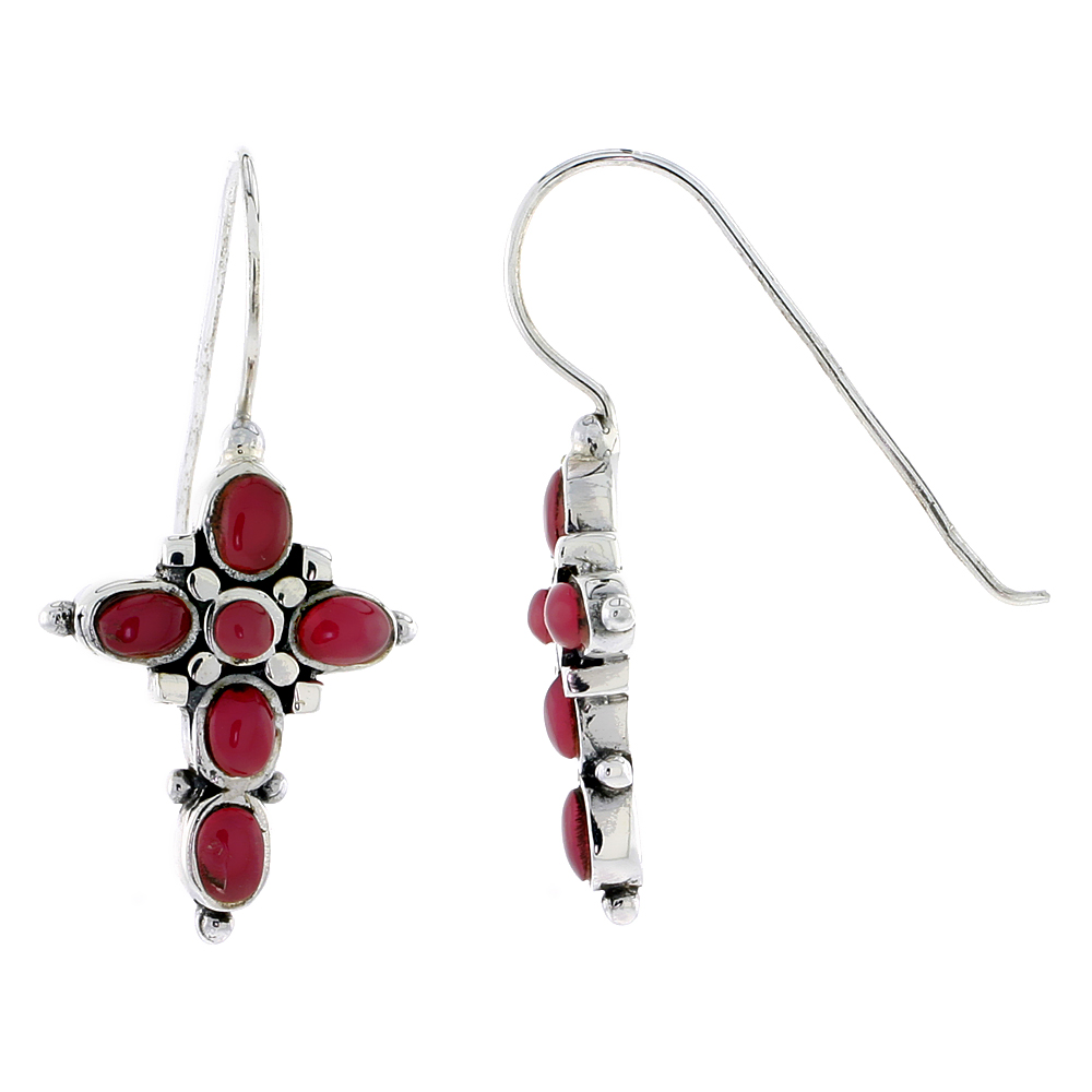 "Sterling Silver Oxidized Cross Earrings, w/ 2mm Round & Five 4 x 3 mm Oval-shaped Red Resin, 7/8"" (23 mm) tall"