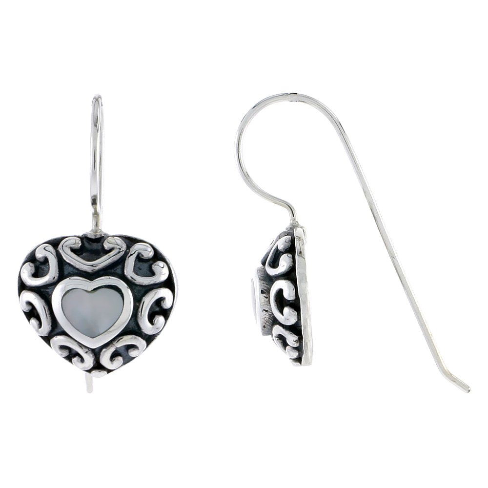 "Sterling Silver Oxidized Heart Earrings, w/ Mother of Pearl, 1/2"" (13 mm) tall"