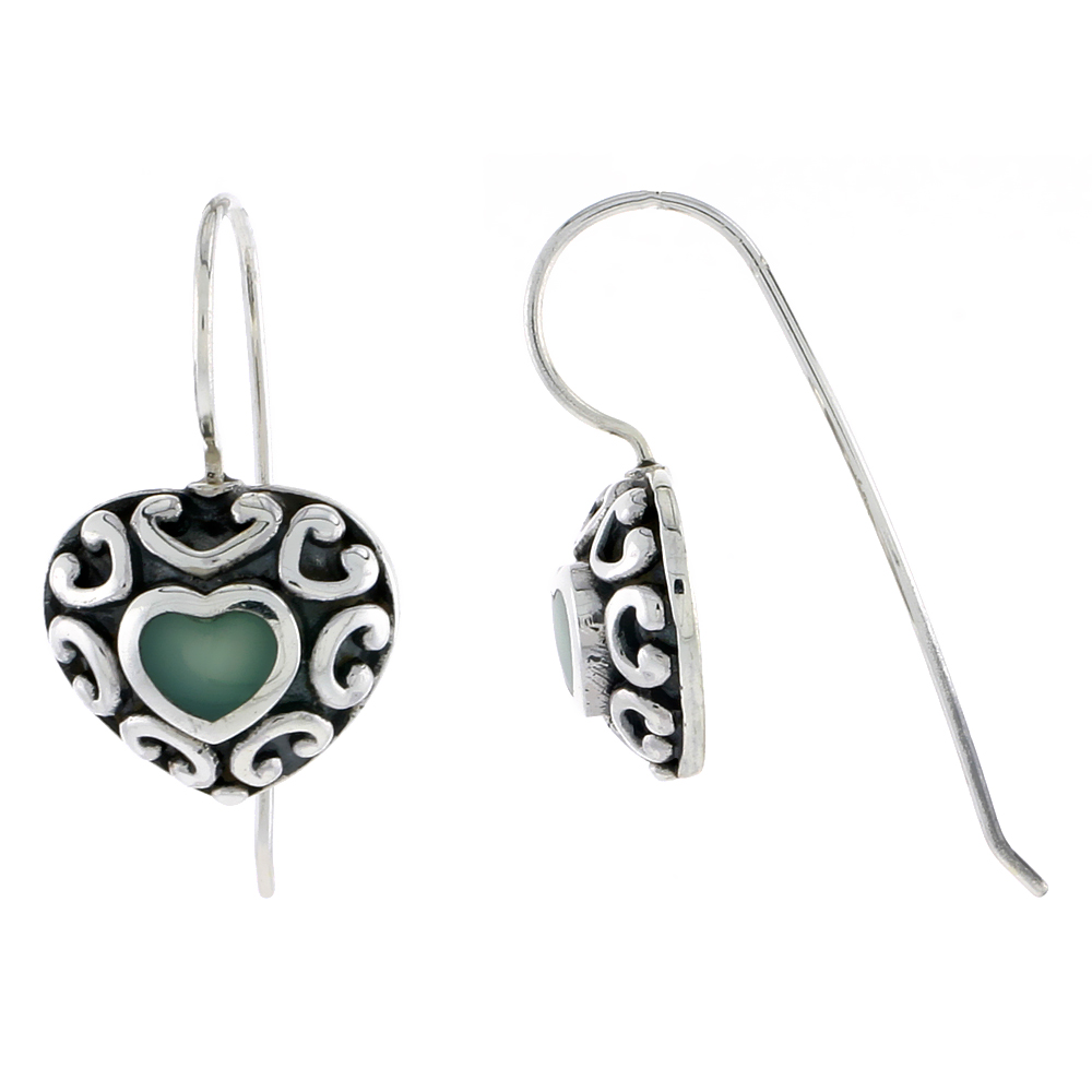 "Sterling Silver Oxidized Heart Earrings, w/ Green Resin, 1/2"" (13 mm) tall"