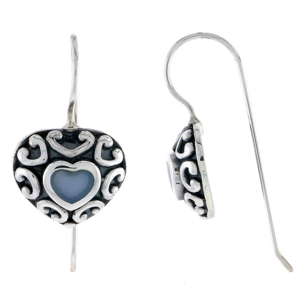 "Sterling Silver Oxidized Heart Earrings, w/ Blue Resin, 1/2"" (13 mm) tall"