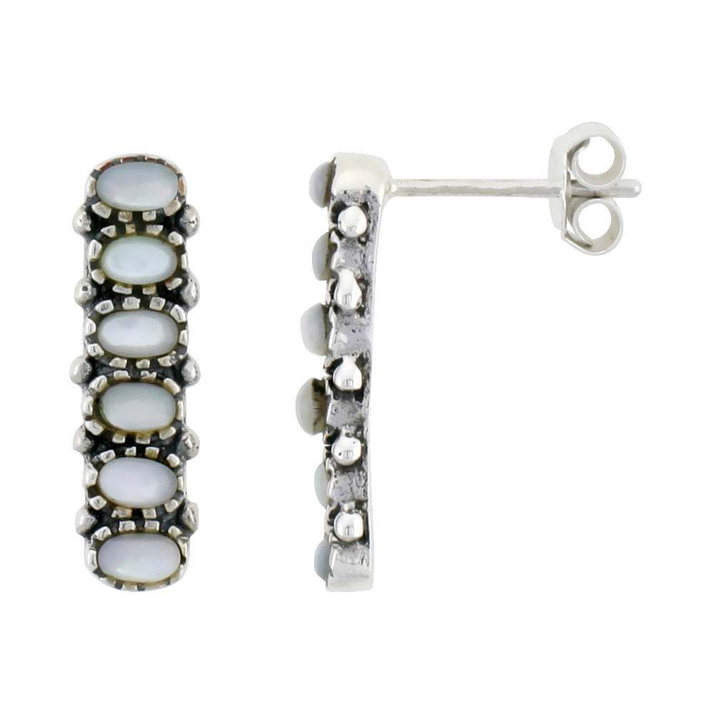 "Sterling Silver Oxidized Post Earrings, w/ Six 3 x 2 mm Oval-shaped Mother of Pearls, 3/4"" (19 mm) tall"