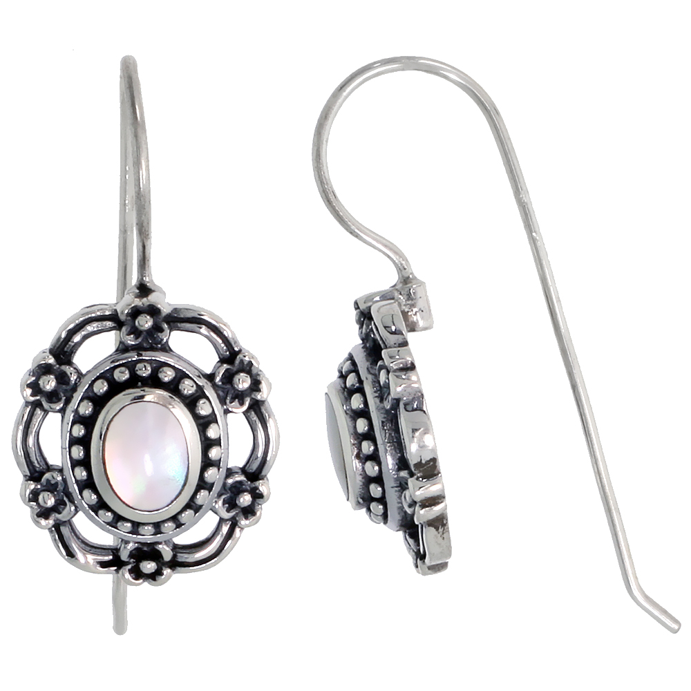 "Sterling Silver Oxidized Earrings, w/ 6 x 4 mm Oval-shaped Mother of Pearl, 9/16"" (15 mm) tall"