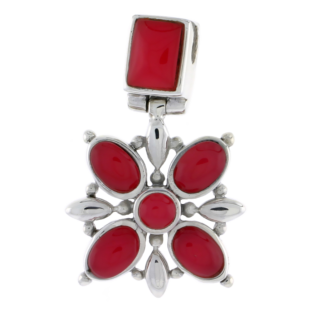 "Sterling Silver Flower Pendant, w/ 8 x 6 mm Rectangular, 4mm Round & Four 7 x 5 mm Oval-shaped Red Resin, 13/16"" (21 mm) tall"