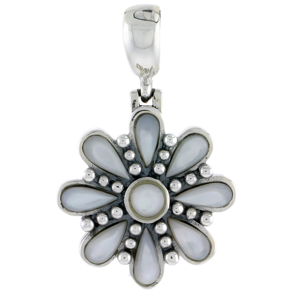 "Sterling Silver Oxidized Flower Pendant, w/ 4mm Round & Eight 6 x 3 mm Pear-shaped Mother of Pearls, 7/8"" (22 mm) tall"