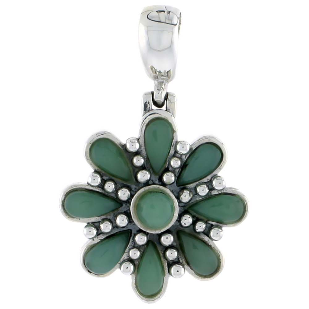 "Sterling Silver Oxidized Flower Pendant, w/ 4mm Round & Eight 6 x 3 mm Pear-shaped Green Resin, 7/8"" (22 mm) tall"
