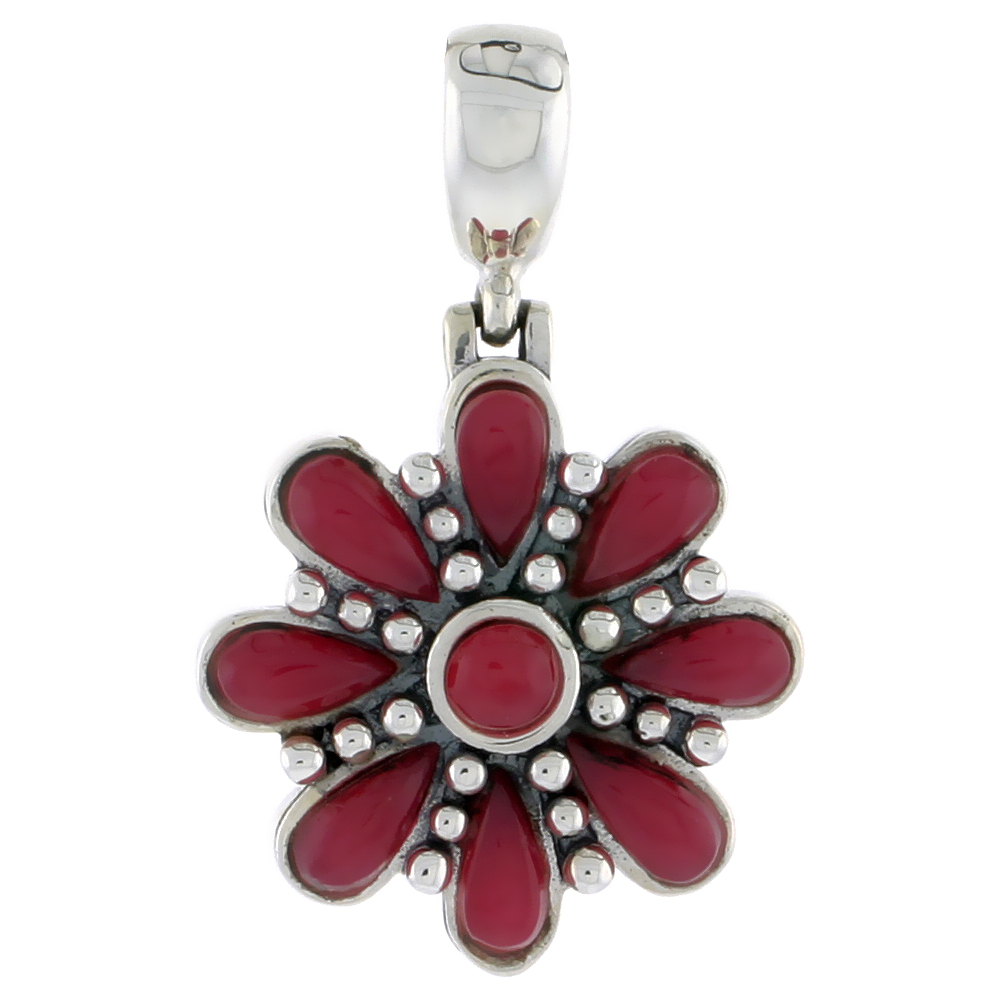 "Sterling Silver Oxidized Flower Pendant, w/ 4mm Round & Eight 6 x 3 mm Pear-shaped Red Resin, 7/8"" (22 mm) tall"