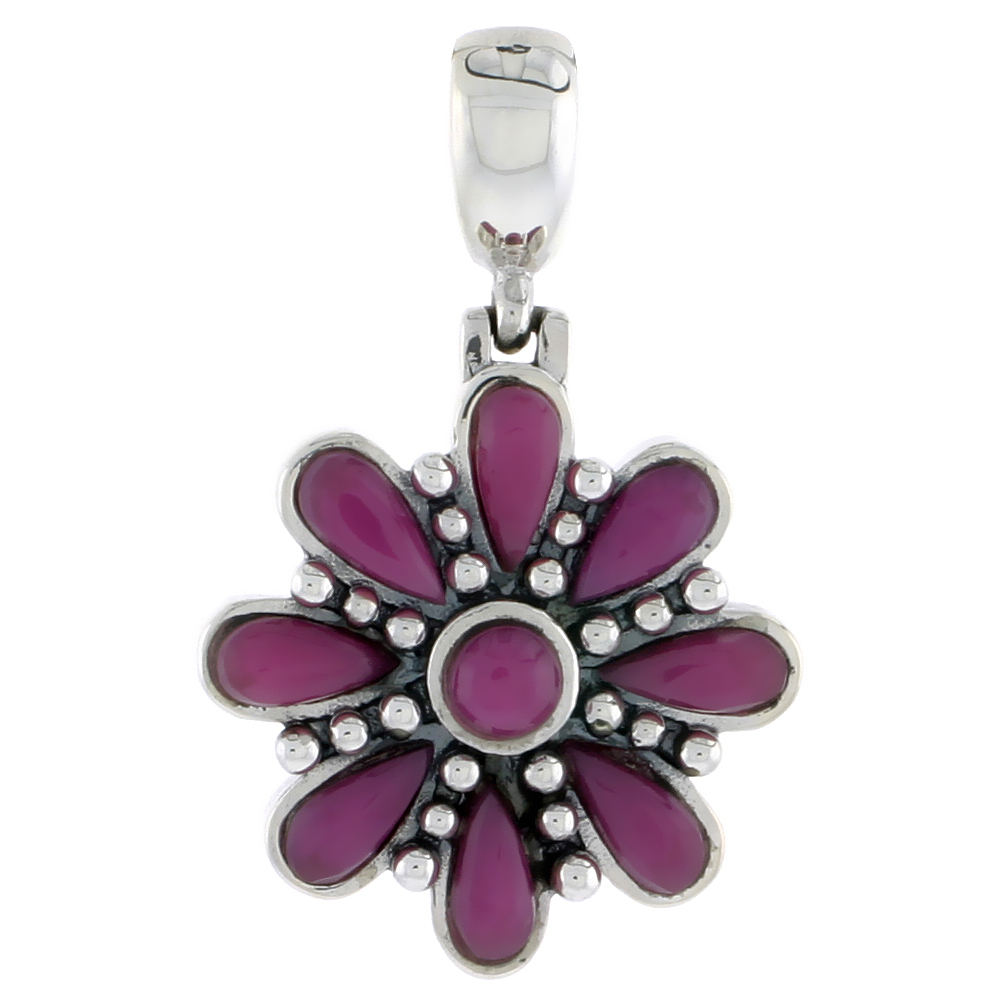 "Sterling Silver Oxidized Flower Pendant, w/ 4mm Round & Eight 6 x 3 mm Pear-shaped Purple Resin, 7/8"" (22 mm) tall"