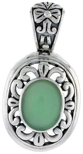 "Sterling Silver Oxidized Pendant, w/ 12 x 10 mm Oval-shaped Green Resin, 1 1/2"" (38 mm) tall"