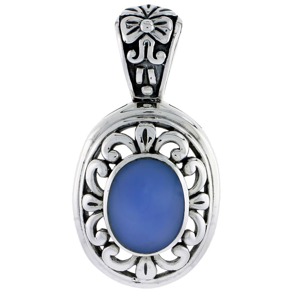 "Sterling Silver Oxidized Pendant, w/ 12 x 10 mm Oval-shaped Blue Resin, 1 1/2"" (38 mm) tall"