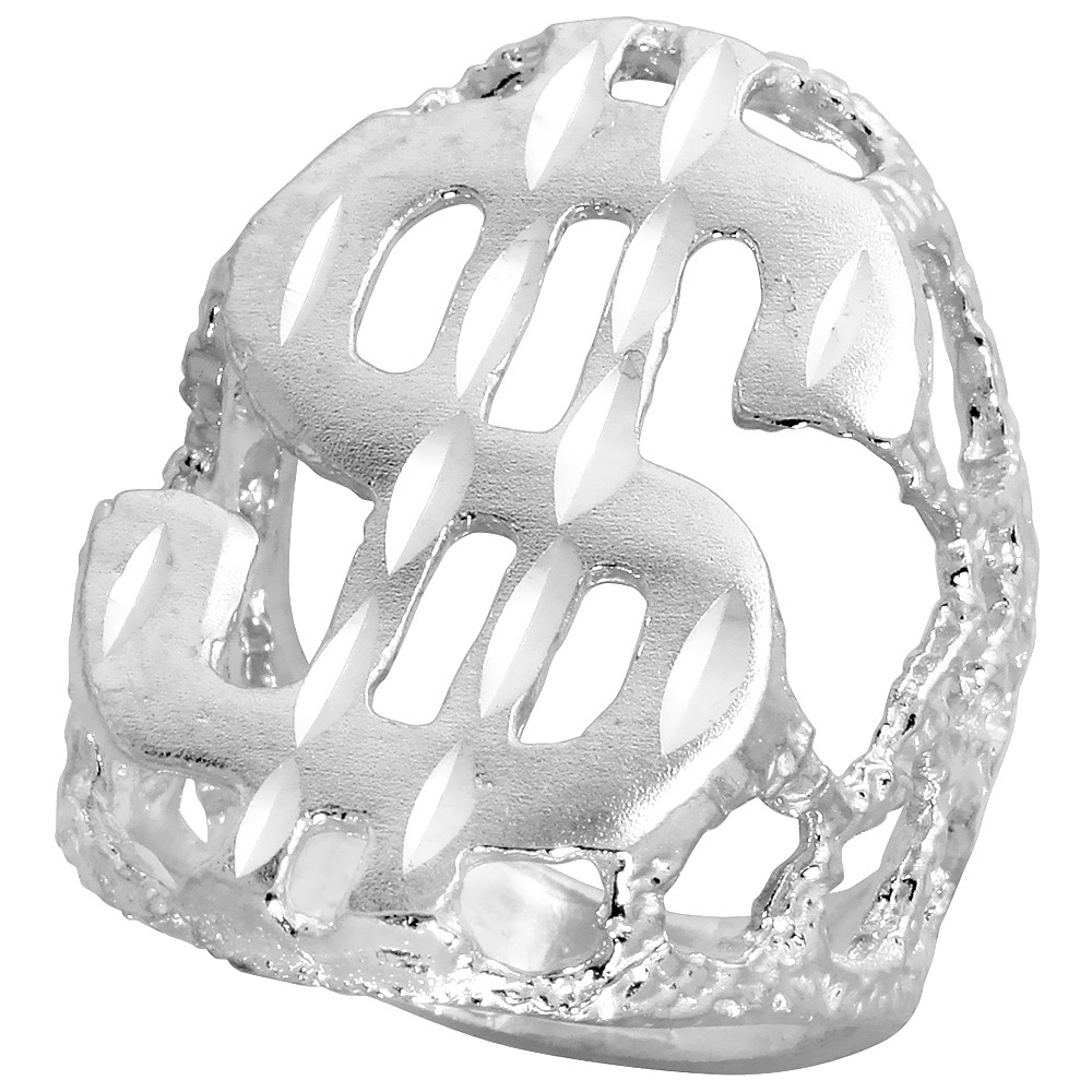 Sterling Silver Dollar Sign Ring Diamond Cut Finish 1 1/4 inch wide, sizes 8 - 13