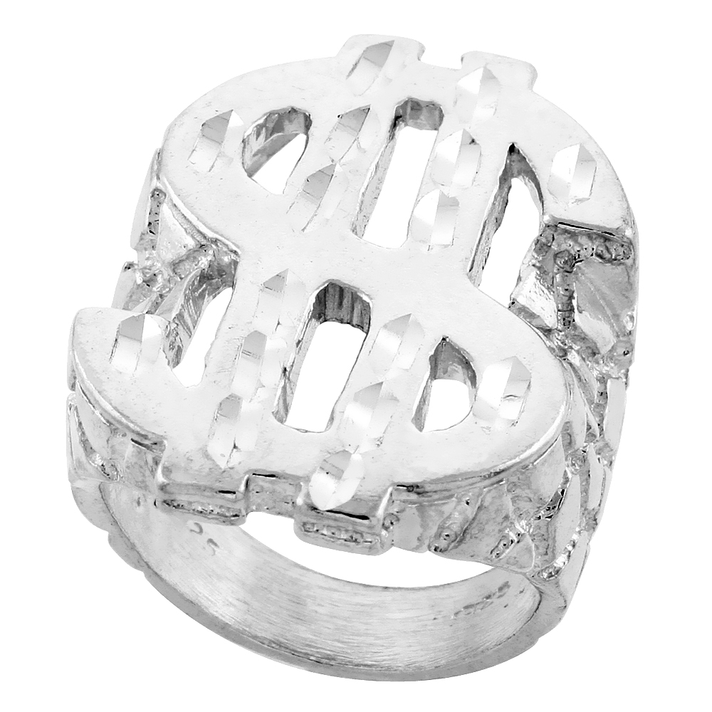 Sterling Silver Dollar Sign Ring Diamond Cut Finish 1 5/16 inch wide, sizes 8 - 13