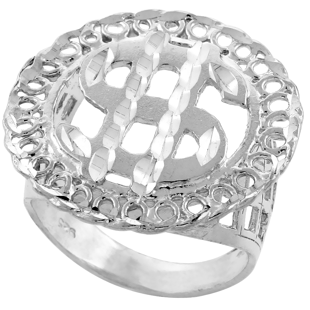 Sterling Silver Dollar Sign Ring Endless Circles Border Diamond Cut Finish 1 1/16 inch wide, sizes 8 - 13