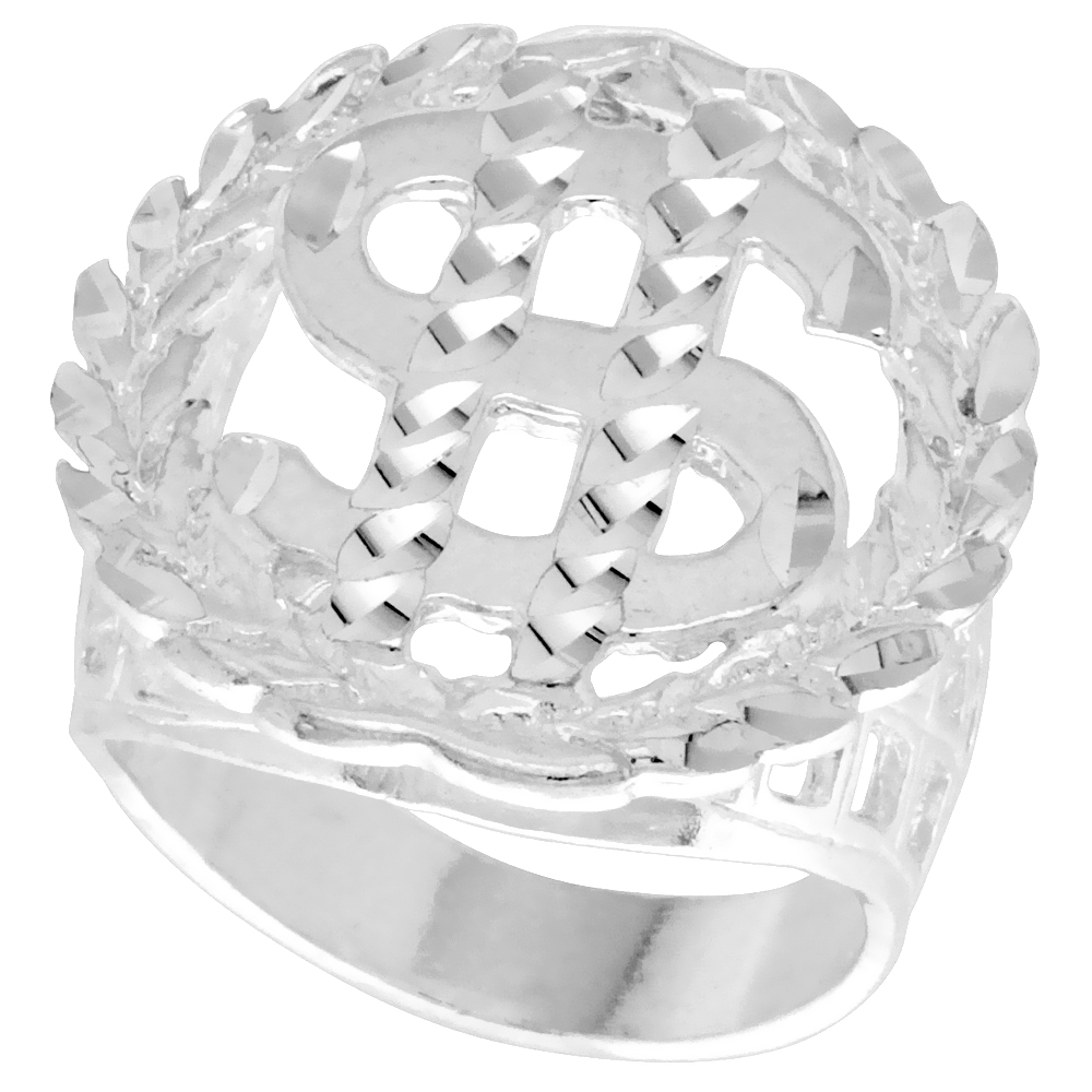Sterling Silver Dollar Sign Ring Wreath Border Diamond Cut Finish 15/16 inch wide, sizes 8 - 13