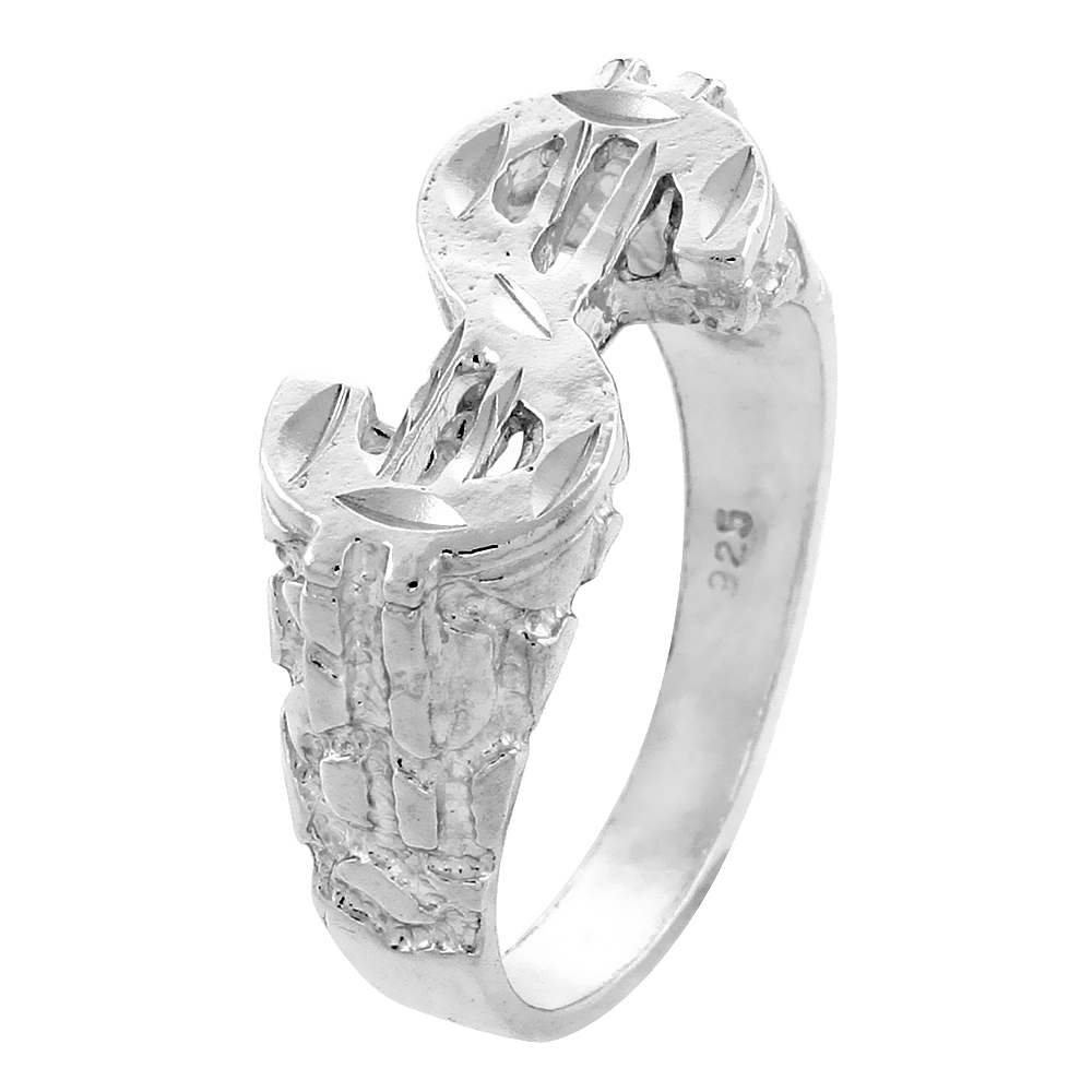 Sterling Silver Nugget Dollar Sign Ring Cut-out Diamond Cut Finish 1/2 inch wide, sizes 8 - 13