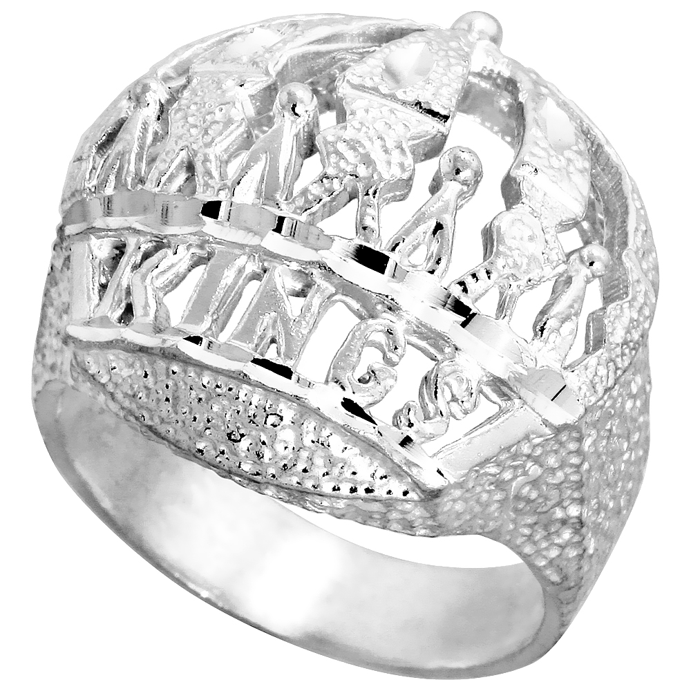 Sterling Silver Kings Crown Ring Large Domed Diamond Cut Finish 1 1/16 inch wide, sizes 8 - 13