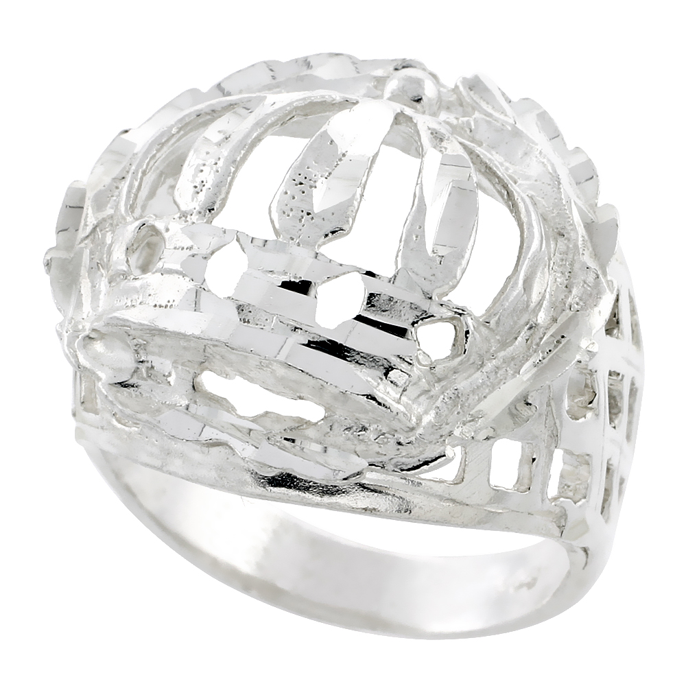 Sterling Silver Crown Ring Wreath Border Diamond Cut Finish 15/16 inch wide, sizes 8 - 13