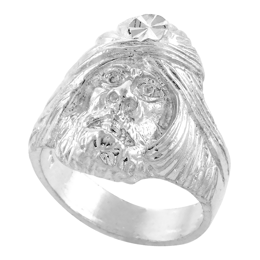 Sterling Silver Sorcerer Head Ring Diamond Cut Finish 15/16 inch wide, sizes 8 - 13