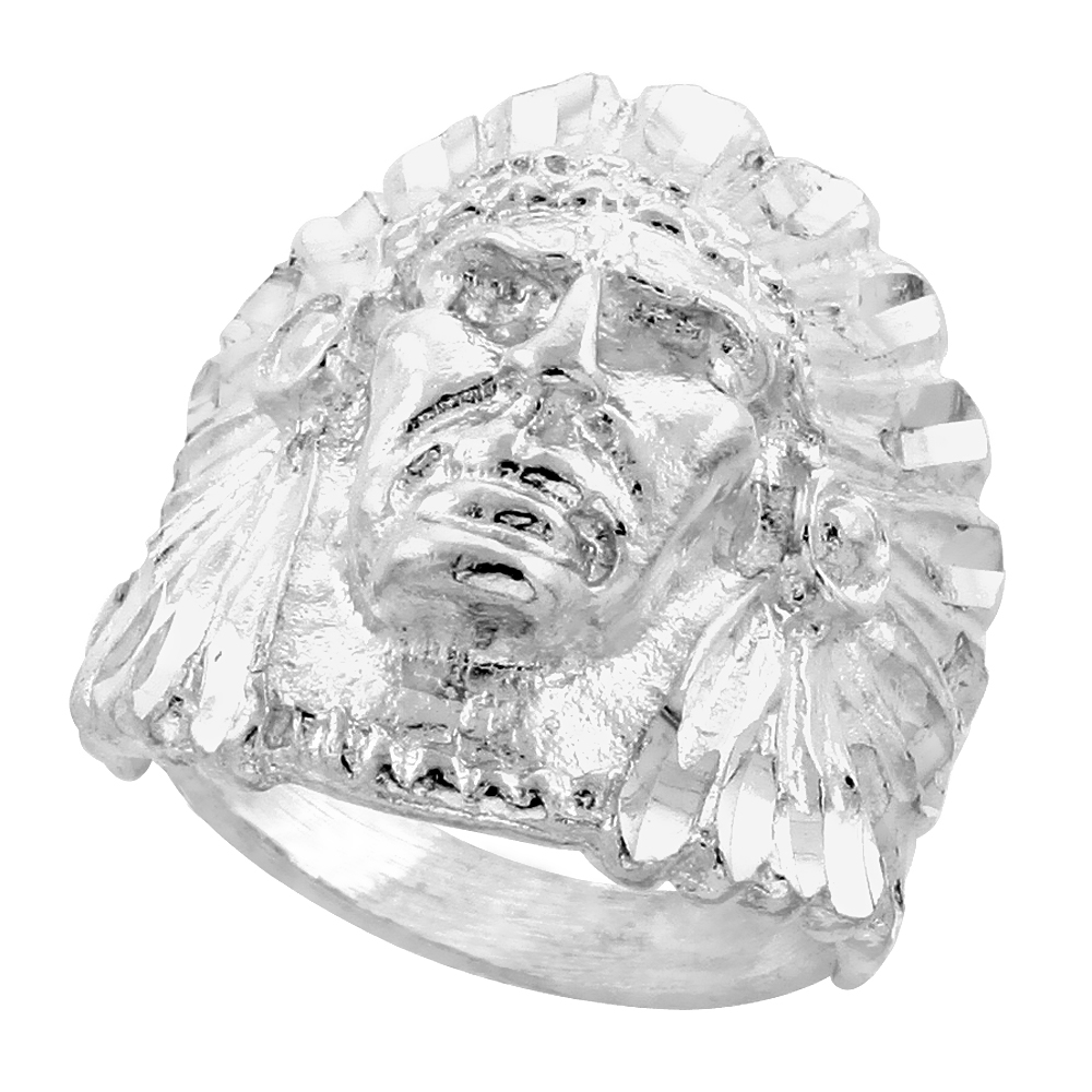 Sterling Silver Indian Head Ring Diamond Cut Finish 15/16 inch wide, sizes 8 - 13