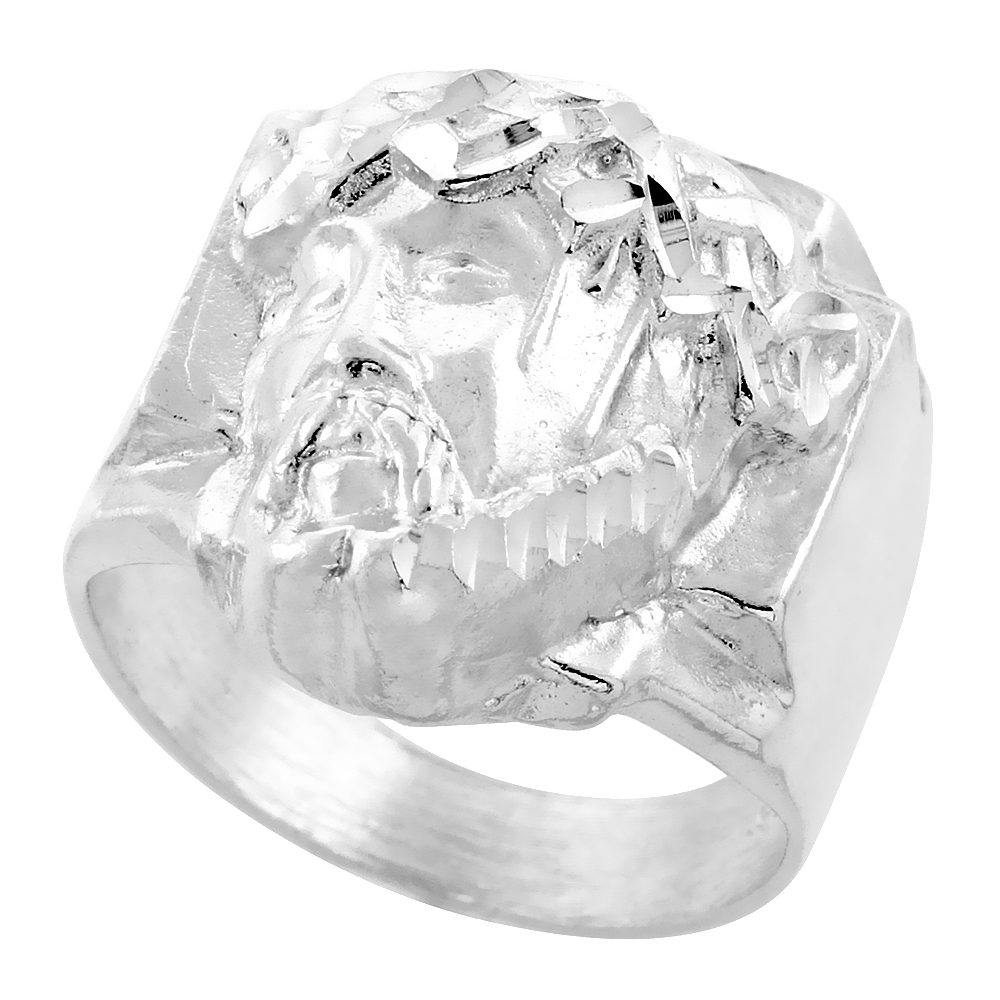 Sterling Silver Jesus Christ Ring Crown of Thorns Diamond Cut Finish 13/16 inch wide, sizes 8 - 13