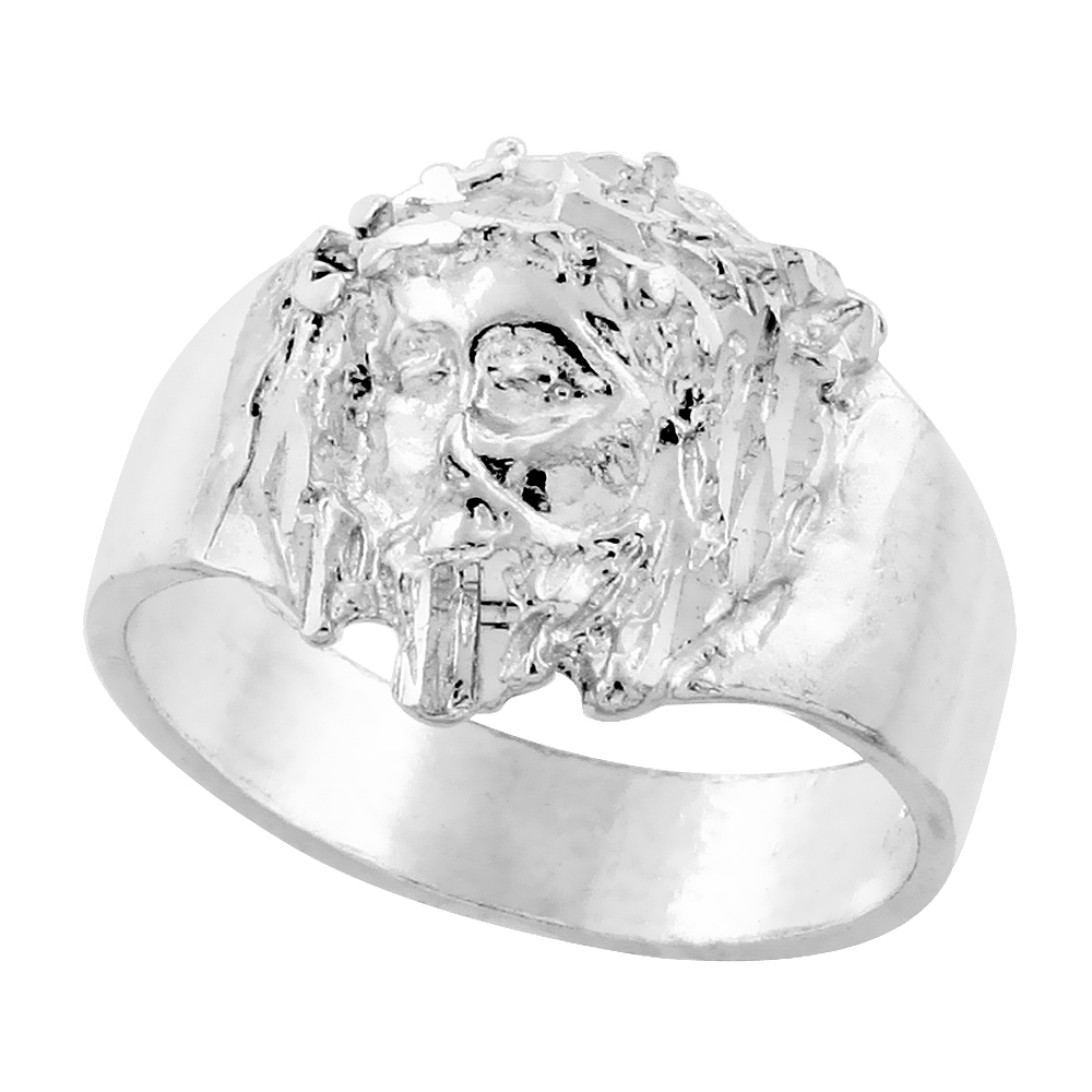 Sterling Silver Jesus Christ Ring Crown of Thorns Diamond Cut Finish 9/16 inch wide, sizes 8 - 13