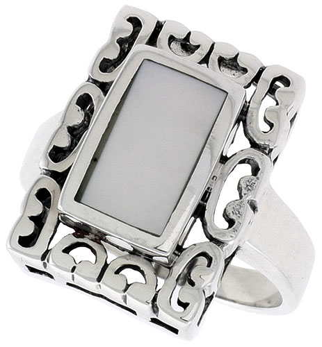 Sterling Silver Ring, w/ 10 x 6 mm Rectangular Mother of Pearl, 3/4 inch (18 mm) wide
