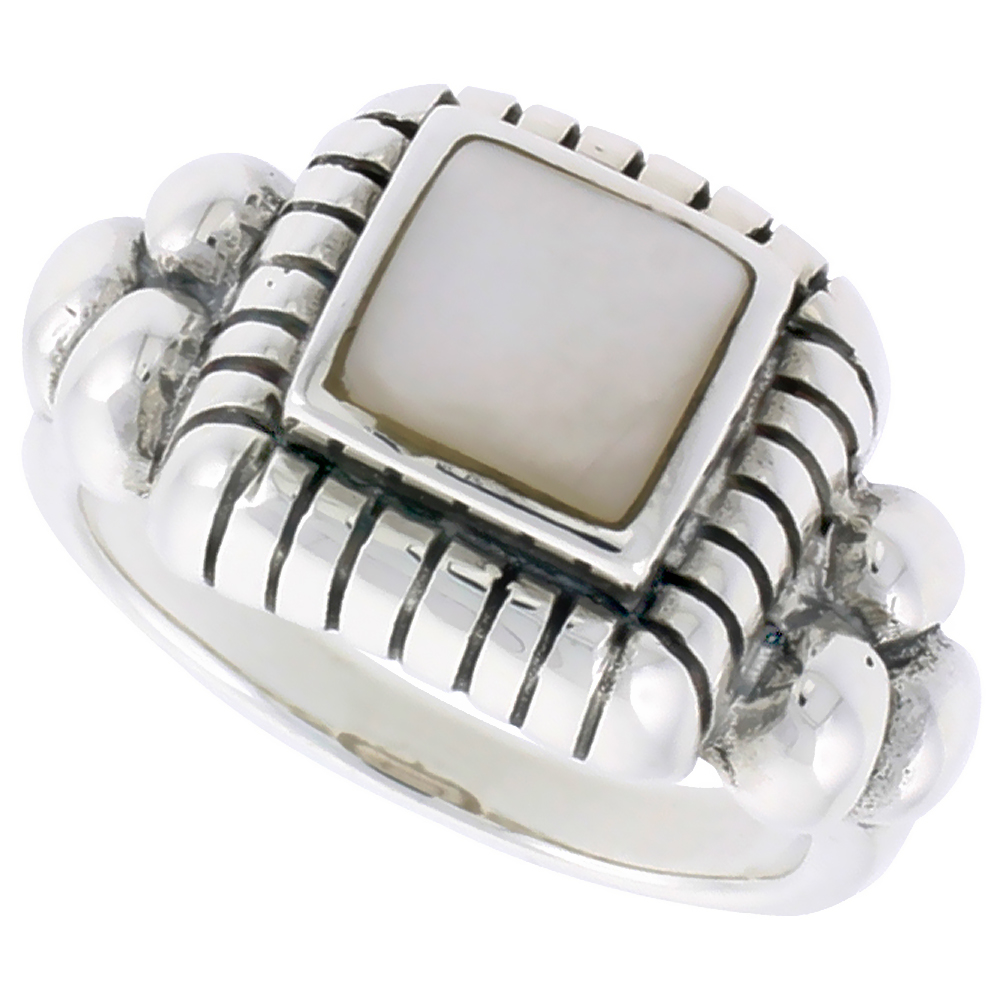 Sterling Silver Ring, w/ 8mm Square-shaped Mother of Pearl, 1/2 inch (13 mm) wide
